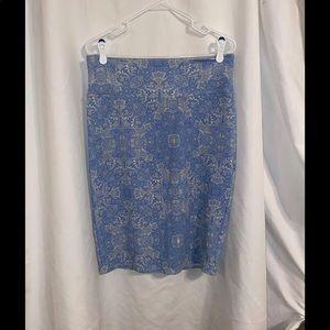 LuLaRoe Blue white Lace Print Cassie Skirt L